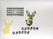 Stencil1 Deer , Houndstooth, Leaf and Blossom Stamp Set