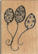 Three Balloons Wood Mounted Rubber Stamp