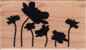 Silhouette Flower Garden Wood Mounted Rubber Stamp
