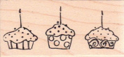 Cupcake Trio Wood Mounted Rubber Stamp