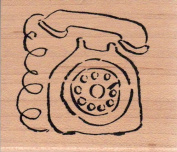 Telephone Wood Mounted Rubber Stamp