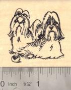 Shih Tzu Dog Pair Rubber Stamp