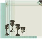 30cm X 30cm Passover Scrapbooking Paper - Four Fab Cups
