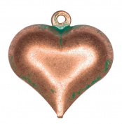Dove of the East 3-Piece Small Fat Heart for Scrapbooking, Green/Copper