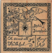 Oh Come All Ye Faithful Collage Wood Mounted Rubber Stamp