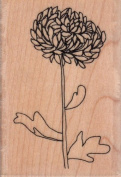 Outline Chrysanthemum Wood Mounted Rubber Stamp