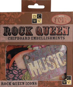 Diecuts With A View Chipboard Embellishments Boxed, Rock Queen Icons With Foil