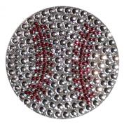 Crystal Heiress Rhinestone Sticker, Baseball, 6.4cm , Silver/Red