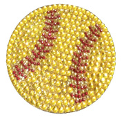 Crystal Heiress Rhinestone Sticker, Softball, 8.9cm , Yellow/Red