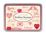 Cavallini Papers Rubber Stamps Set Love Assorted Wooden Rubber Stamps Packaged in a Tin, Set of 15