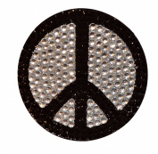 Crystal Heiress Rhinestone Sticker, Peace Sign, 6.4cm , Black/Silver