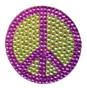 Crystal Heiress Rhinestone Sticker, Peace Sign, 6.4cm , Green/Purple