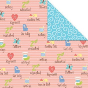 Amy Hurley EXHAUSTED & PREGNANT Double Sided SCRAPBOOK PAPER 30cm Square
