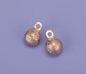 Single-Cut Embossed Brass Bells with Copper Polish-3.2cm H-Dozen-BL019