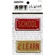 Creative Imaginations Art Warehouse Licence Plates - SCHOOL/ 2 LEARN