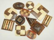 Assort Handmade Wood Sewing Badge Buttons