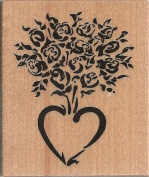 Rose Bouquet Heart Wood Mounted Rubber Stamp