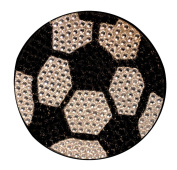 Crystal Heiress Rhinestone Sticker, Soccer Ball, 6.4cm , Silver/Black