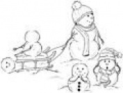 A Bump in the Snow Wood Mounted Rubber Stamp