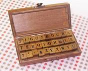 Wooden Rubber Stamp Box Alphabet Stamps Print Style Korea DIY Vintage Stamps - Capital letters 30 Pcs
