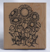 Sunflower Patch Wood Mounted Rubber Stamp