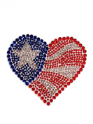 Crystal Heiress Rhinestone Sticker, Flag, 11cm by 10cm , Red/ White/Blue