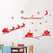 60*45CM Happy Christmas Lovely PVC Vinyl Art Wall Sticker Shopwindow Decorative Decals Home Decor. CH056b