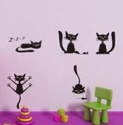 60*45CM Cartoon Cute Happy Cats Animal Vinyl Art Wall Sticker Baby Children Kids Room Decals PVC Nursery Decor B0326