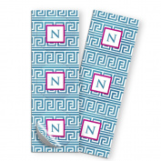 Blue and Hot Pink 'Greek' Two Inch Round Sticker. 15 per set. 2-pack.