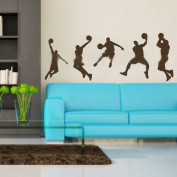 60*45CM A group of men playing basketball PVC Vinyl Art Wall Sticker Boys Room Decals Home Decor P0167 Coffee
