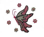 Crystal Heiress Rhinestone Sticker, Butterfly Flower, 11cm by 13cm , Pink/Green/Black