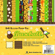 Best Creation 15cm by 15cm 22 Page Glitter Paper Pad with Die-Cuts, Baseball