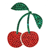 Crystal Heiress Crystal Sticker, Cherries, 8.3cm by 11cm , Red/Green and Silver