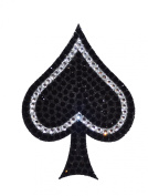 Crystal Heiress Crystal Sticker, Spade, 8.6cm by 12cm , Black/Silver