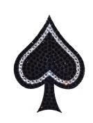 Crystal Heiress Crystal Sticker, Spade, 8.6cm by 12cm , Black/Silver