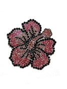 Crystal Heiress Rhinestone Sticker, Hibiscus, 9.5cm by 9.5cm , Pink