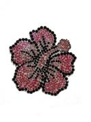 Crystal Heiress Rhinestone Sticker, Hibiscus, 9.5cm by 9.5cm , Pink