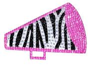 Crystal Heiress Rhinestone Sticker, Megaphone Zebra, 10cm by 9.5cm , Pink/ Silver/Black