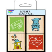 Home Sweet Home Wood Mounted Rubber Stamp Set