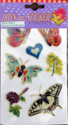 "PACK of IRON ON ""BUTTERFLIES, FLOWERS & HEART"" STICKERS (Butterfly & Flower) w SILVER GLITTER Accents"