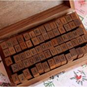70Pcs Vintage Wooden Box Case Rubber Stamps Set Alphabet Letters Number Craft