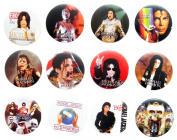 MICHAEL JACKSON MJ (2) Awesome Quality Lot 12 New Pin Pinback Button Badge 3.2cm