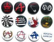 ANARCHY Symbol (1) Awesome Quality Lot 12 New Pins Pinback Buttons Badge 3.2cm
