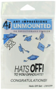 "Art Impressions 4289 Graduation Series ""Hats Off Set"" Rubber Stamp"