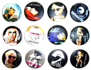 LADY GAGA (2) Awesome Quality Lot 12 New Pins Pinback Buttons Badge 3.2cm