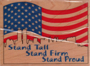 New York City American Flag Stand Tall Wood Mounted Rubber Stamp