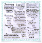 Happy Birthday Poems (18cm x 18cm ) Clear Stamps Sheet / Greetings Wishes Vintage