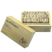 Wood box stamp alphabet M japan