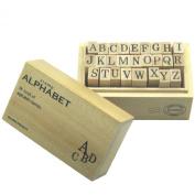Wood box stamp alphabet M japan