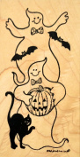 Rubber Stamp Two Ghosts Wearing Bow Ties With a Pumpkin, Bats & a Black Cat, Wood Mounted by Northwoods Rubber Stamps, Inc. O9142
